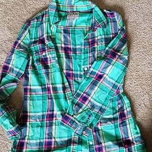 Green pink and blue plaid button up shirt
